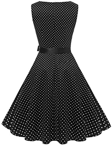 Gardenwed Damen Vintage 1950er PartyKleid Rockabilly Ärmellos Retro CocktailKleid Black Small White Dot