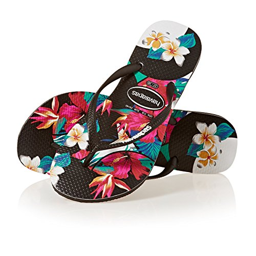 c2d07e55e Havaianas Womens Slim Tropical Floral Black Flip Flops – HD ...