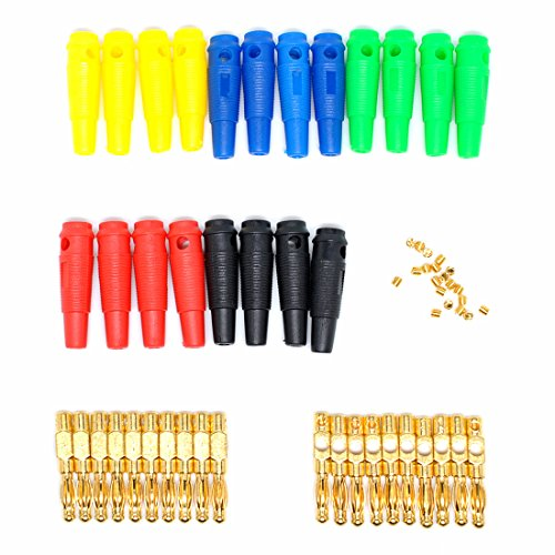 willwin 20PCS 5Farbe 4mm Vergoldet Banana Stecker für Sonden Binding Post Binding-post-adapter