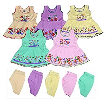 Sathiyas Baby Girls A-Line Hosiery Cotton Dresses (Multicolor, Set of 5, 0-3 Months)