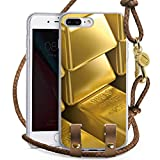 DeinDesign Apple iPhone 7 Plus Carry Case Hülle Zum Umhängen Handyhülle mit Kette Goldbarren Gold Barren