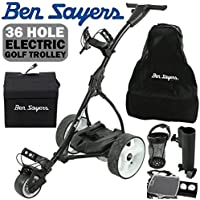 """""""NEW 2017"""" BEN SAYERS BLACK ELECTRIC GOLF TROLLEY + 36 HOLE BATTERY & CHARGER"""