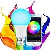 Aubess Smart Bombilla, LED WiFi Luces Funciona con Alexa, Google Home Wake-Up Hue Bombilla sin Hub Requiere con Adaptador de Enchufe GU24 a E27
