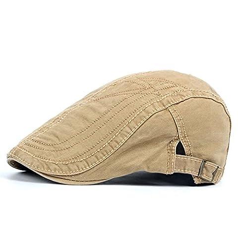 Casquette Plate De Hommes Garçons Classique Rétro Coton De Plein Air Chapeau De Soleil D'Été, Beige
