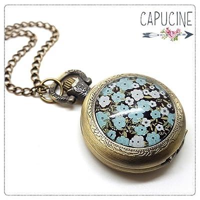 Montre Gousset bronze avec cabochon verre fleurs - Sautoir montre - Esprit Japon