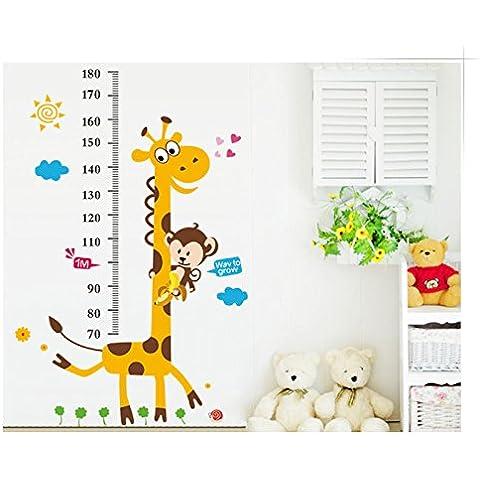 coribe Cartoon Animales Tabla de crecimiento jirafa Mono Medidor de altura adhesivo Decor para pared Vinly extraíble, Super para guardería sala de juegos niñas y niños dormitorio de los