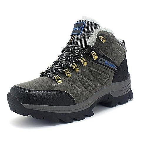 Hommes femmes bottes de randonnée en cuir véritable chaussures de trekking haut de gamme masculines automne féminin et hiver gardent le chaud plus cramêre randonnée en plein air trekking escalade bottes de marche , grey , 45