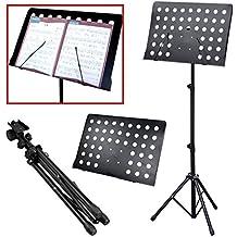 JJOnlineStore Pupitre d'orchestre avec trépied à hauteur réglable Noir