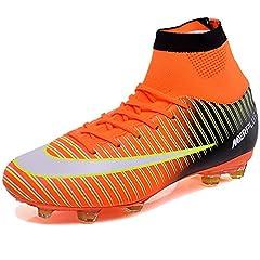 Idea Regalo - KAMIXIN Scarpe da Calcio Uomo Professionale Adulti Unisex Sportivo all'aperto di Calcio Bambini Teenager Scarpe da Calcetto Arancione 42EU