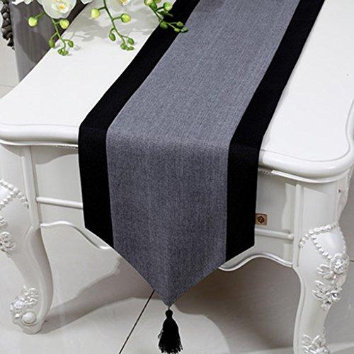 QiangZi Nappe De Table Chinois Moderne Concis Cuisine Salon Table De Mariage Mat Nappe, 33 * 150cm ( Couleur : Gris , taille : 33*200CM )