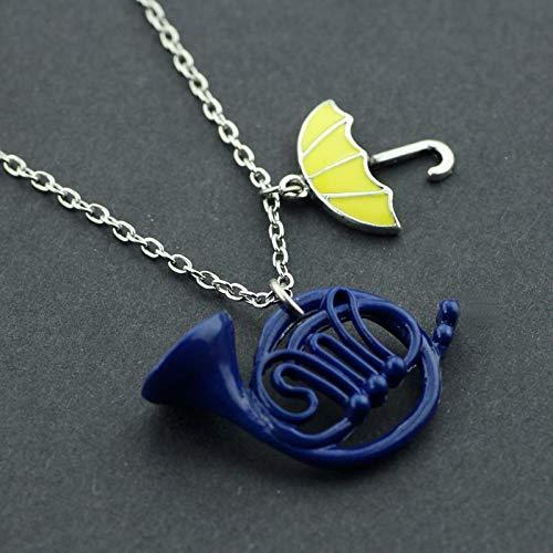 DADATU Halsketten für Herren Sitcom Tv-Serie, Wie Ich Traf Ihre Mutter Halskette Himym Romantische Gelb Regenschirm Blau Französisch Horn Anhänger Halskette Für Frauen (Himym Kostüm)