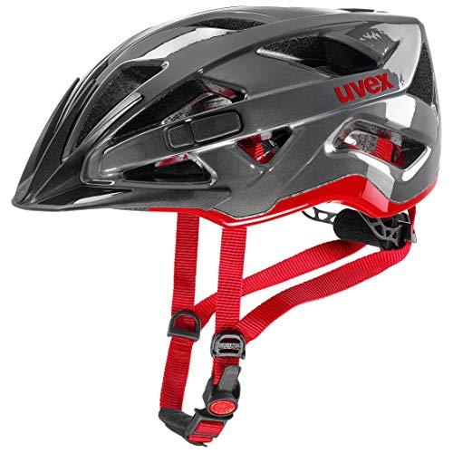 uvex Unisex Erwachsene active Fahrradhelm, anthracite-red, 52-57 cm