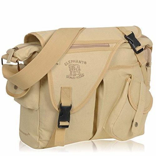 D-SLR Umhängetasche ELEPHANT Canvas Fototasche MALAWI für Spiegelreflex Kameras oder Videokamera AUSWAHL (Camel Sand) (Gestickte Messenger Nylon Bag)