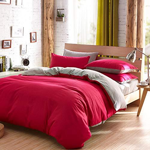 RenshenX 4 teilig Bettwäsche mit modernen Motiv - strapazierfähig und atmungsaktiv,Doppellagiges,zweifarbiges,vierteiliges Set,graurot,2 m Bett