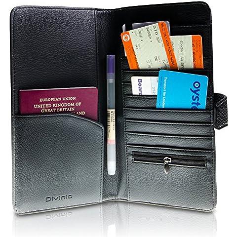 Divinio  Travel Wallet, Portafogli da viaggio - Pelle Cartella Sottile