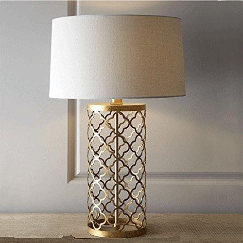 Lampe de Table Creuse en fer Dorée en Style Européen Lampe de Chevet Simple en Tissu Lampe de Bureau-E27 Ampoule (70cm de haut)