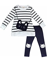 YiZYiF Camiseta Manga Larga + Pantalones Leggins A Rayas Infantil Equipo De Gato Traje de Otoño Invierno para Niñas 3-8 Años
