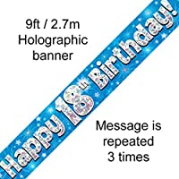 18th Birthday Blue Holographic Banner by Signature Balloons
