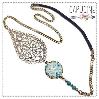 Headband avec cabochon verre motif feuilles bleues dorées et estampe bronze - Accessoire cheveux - Feuilles en Filigrane