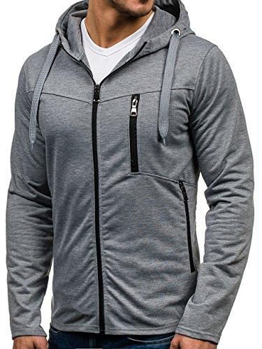 BOLF – Felpa con cappuccio – Con cerniera – Sweat-shirt – Hoodie – Sport – Zip – Uomo [1A1] Grigio