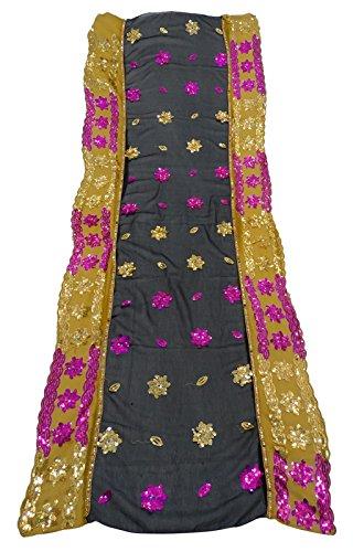 Jahrgang Indian Bestickte Schwarze Dupatta Georgette Anzug Chunni Hochzeits Party Abnutzung Designer Lang Stahl Hijab Frauen Schals (Anzug Georgette)