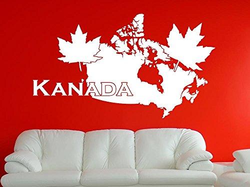 Wandaufkleber Tattoo Wanddeko Deko für Wohnzimmer Spruch Kanada Ahorn Umriss (52x30cm // 031 rot)