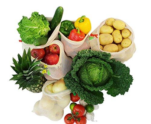 Imline Hochqualitative Obst und Gemüsebeutel aus Baumwolle im 5er Set Wiederverwendbare Einkaufsbeutel mit Gewichtsangabe