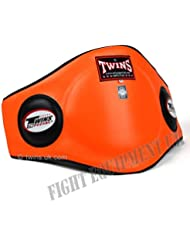 Twins Piel Belly Pad de velcro de Muay Thai Protector Naranja, color , tamaño large