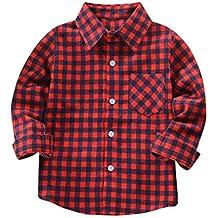 YanHoo Ropa para niños Camiseta de algodón de Manga Larga Cheques Tops Blusa Ropa Trajes Camisa