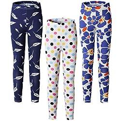 Adorel Leggings Estampado Pantalón Stretch para Niña 3 Pack Pluma-lunares-floral 5 Años (Tamaño del Fabricante 65)