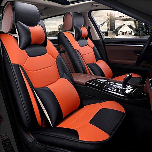 DIELIAN (Vorne + hinten spezielle Leder Auto Sitzbezüge, Universal Auto Sitzbezüge Vorders hinten Sitzbezug für Full Set, Orange