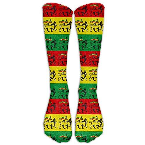 Rasta Lion Cool Casual Unisex Sock Knee Long High Socks Sport Athletic Crew Socks One Size (Peds Crew Socken)