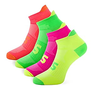 SLS3 Laufsocken Neon | Dünne Sportsocken Bequeme Passform | Optimaler Feuchtigkeitstransport | Ideale Funktionssocken Für Alle Sportarten | Extrem Dünne Faser
