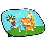 Auto-Sonnenschutz mit Namen Karl und Zoo-Motiv mit Tieren für Jungen