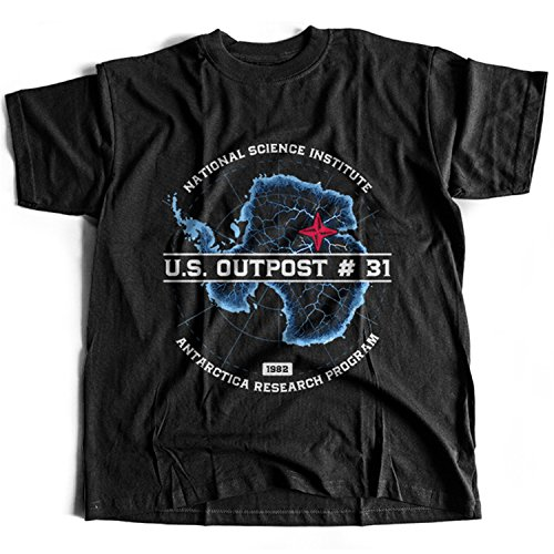 Flamentina 9406 Outpost 31 Mens T-Shirt The Thing Fog KAB Radio 1340 John Carpenter Horror 80s Antonio Bay