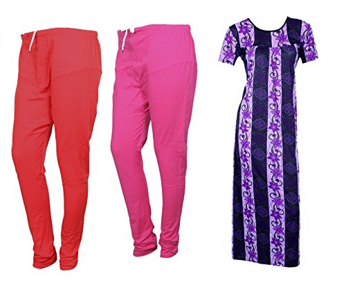 IndiWeaves Women Premium Nighty and Legging Combo Pack(Pack of 1 Nighty/Maxi and 2 Wollen Ruby Cut Legging)_Multicolor_Size-Small_715242673210-00-IW-P3-S