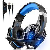 Juego de auriculares PS4 Xbox One pc 3,5 mm cable de auriculares con micrófono y luz LED bajo envolvente, ideal para laptops, smartphones,Azul