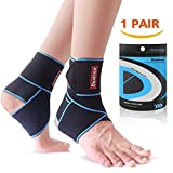 Ankle Support 1 Pair, Adjustable Ankle Support Brace for Women/Men/Kids, Elastic Compression Ankle Strap, Lace Up Ankle Brace Support for Sprained Ankle, Achilles Tendon, Sports, Running by Dualeco