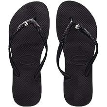Havaianas Women's Slim Crystal Glamour Sw Flip Flops, Black, 2/3 UK