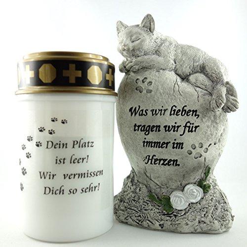 Trauer-Shop Tiergrab Grabschmuck Katze im 2er Set. LED Licht, Katzenstein. Lieferung: 2er Set