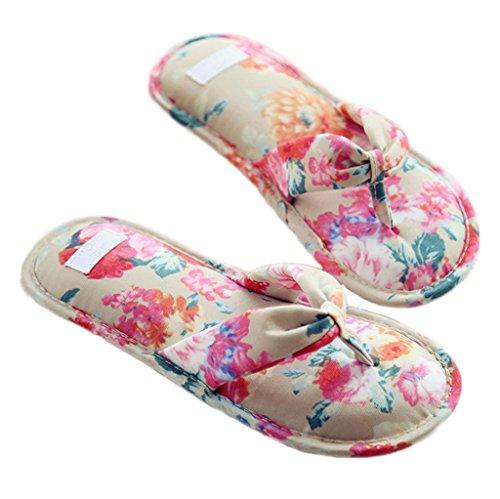Fortuning's JDS Le donne delle ragazze delle signore floreali di cotone Pantofole Infradito flatform aperto Sandali dita dei Marrone