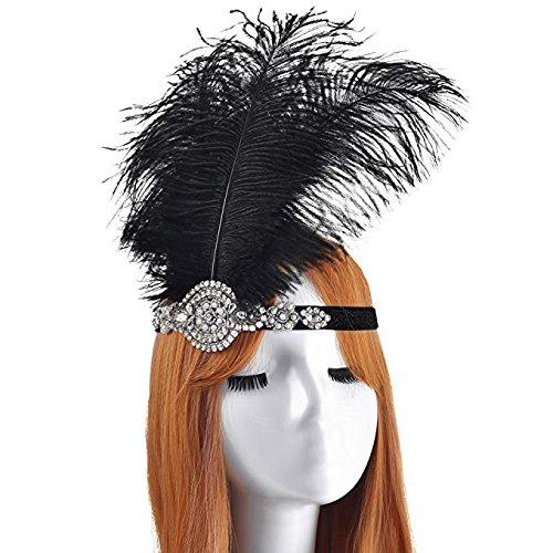 LONGBLE Damen 1920s Stirnband mit Feder 20er Jahre Stil Flapper Haarband Great Gatsby Ostrich...