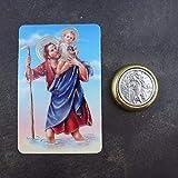 Katholische St. Christopher Auto Plakette Geschenk Magnetisch Selbstklebend Messing und Silber Farbe + Gebet Karte