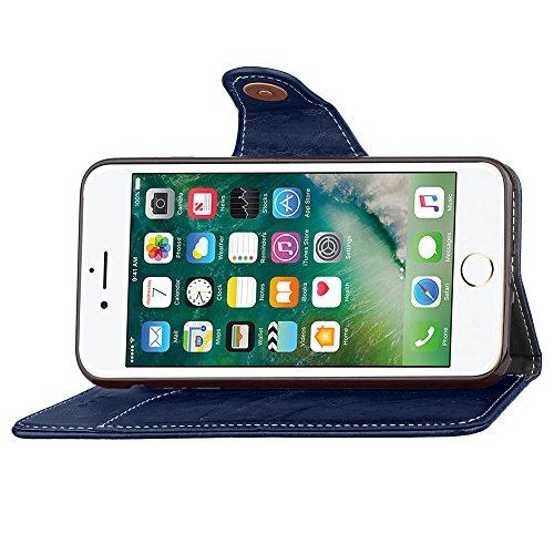 Apple iPhone 7 4.7 hülle, Voguecase Kunstleder Tasche PU Schutzhülle Tasche Leder Brieftasche Hülle Case Cover (Retro-Geschäft - Blau) + Gratis Universal Eingabestift Retro-Geschäft - Blau
