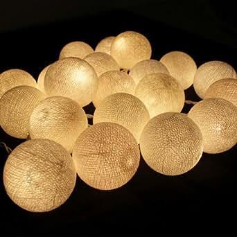 CMYK 2.5M de long Guirlande Lumineuse de Boules de Coton / 20 LED Guirlande Lumineuse Intérieure Blanche 220v AC