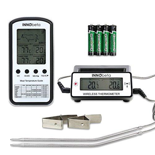 INNObeta Grillthermometer Funk Digital Fleischthermometer mit Alarm Batterien