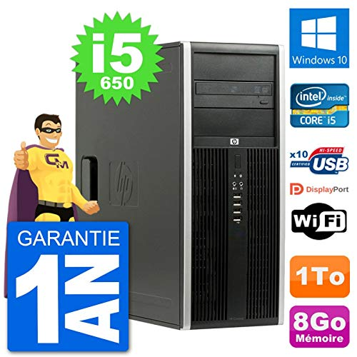 HP PC Tour 8100 Elite Intel Core i5-650 RAM 8Go Disque Dur 1To Windows 10 WiFi (Reconditionné)