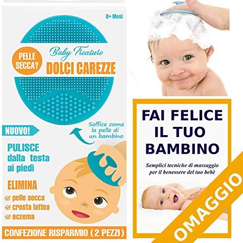 Pettine DolciCarezze by BabyTreasure Pettinella 2 Pezzi Spazzola Elimina Crosta Lattea Pelle Secca Dermatite Bagnetto Neonati Regali Neonati