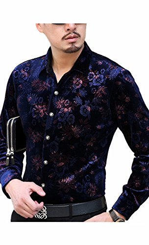 Awake Herren Goldener Samt Blumendruck Button-Down-Shirt (Robe Schlank Und Groß Plaid)