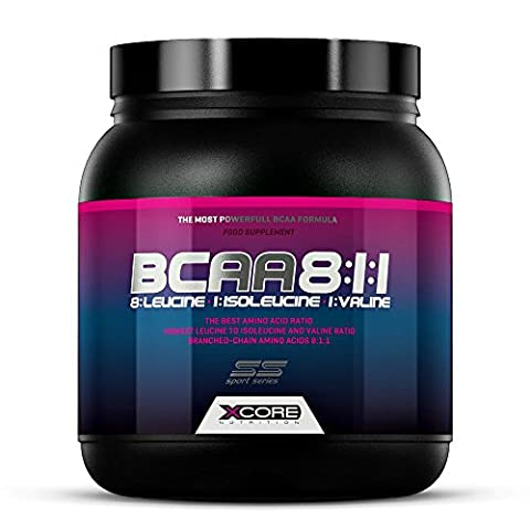 Xcore Nutrition BCAA SS Poudre Complément 300g - Rapport 8:1:1 - Formule d'Acides Aminés de Qualité Pour la Croissance Musculaire, la Force & l'Absorption Maximales - Goût Orange Exquis - 56